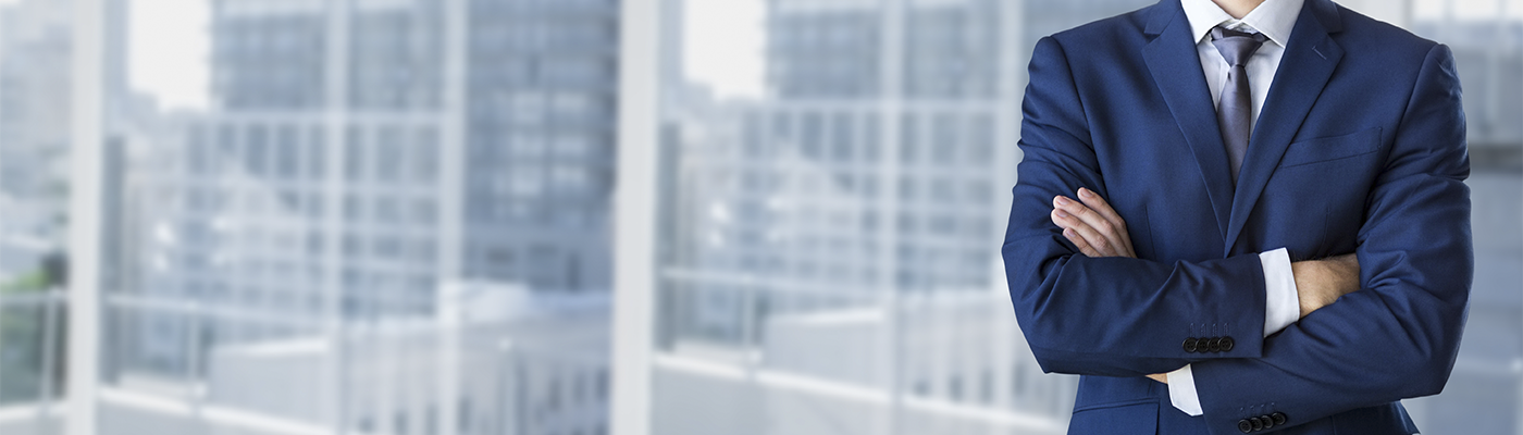 Business man in skyscraper